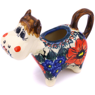 Polish Pottery Cow Shaped Creamer 5 oz French Bouquet UNIKAT