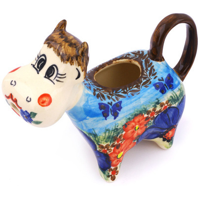 Polish Pottery Cow Shaped Creamer 5 oz Fresh Air UNIKAT