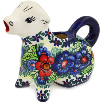 Polish Pottery Cow Shaped Creamer 7 oz Summer Happiness