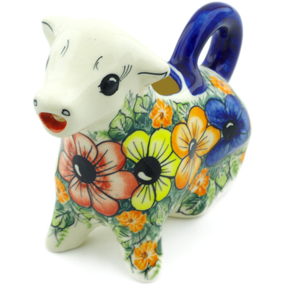 Polish Pottery Cow Shaped Creamer 7 oz Summertime Blues UNIKAT
