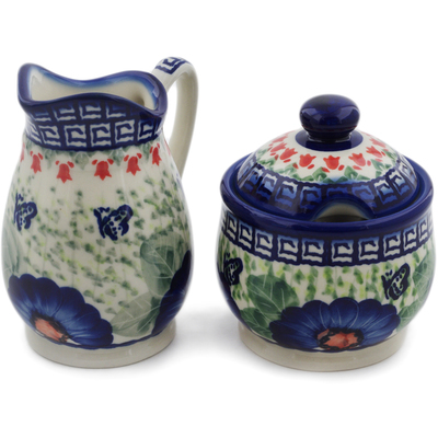 Polish Pottery Cream & Sugar Set Brilliant Butterfly Popp UNIKAT
