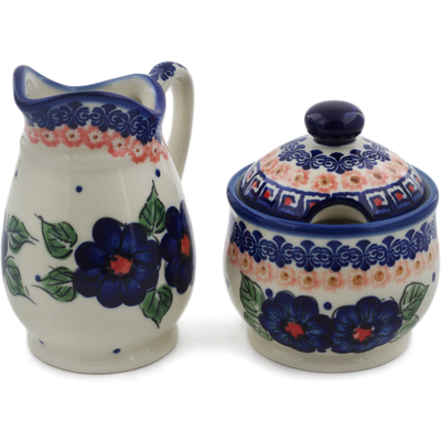 Polish Pottery Cream & Sugar Set Greek Poppies