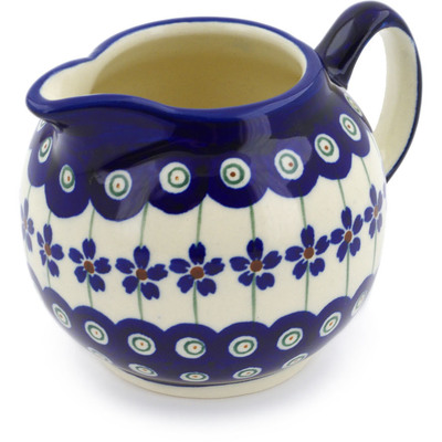 Polish Pottery Creamer 10 oz Flowering Peacock