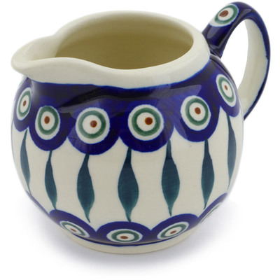 Polish Pottery Creamer 10 oz Peacock Leaves