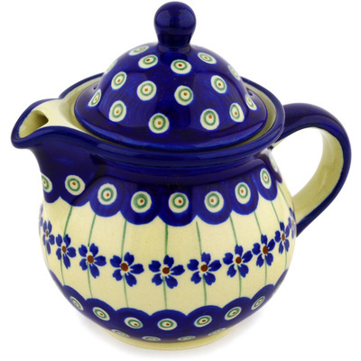 Polish Pottery Creamer 12 oz Flowering Peacock