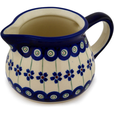 Polish Pottery Creamer 15 oz Flowering Peacock