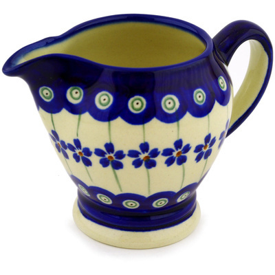 Polish Pottery Creamer 5 oz Flowering Peacock