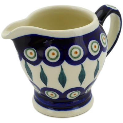 Polish Pottery Creamer 5 oz Peacock Leaves