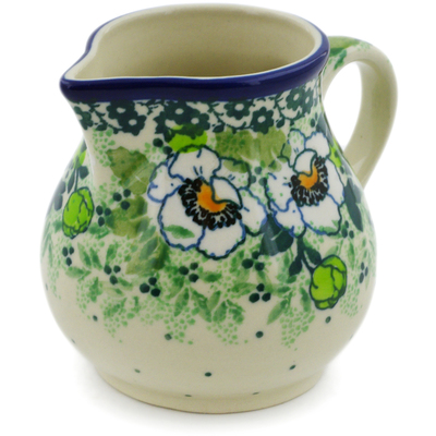 Polish Pottery Creamer 7 oz Daisies Wreath UNIKAT