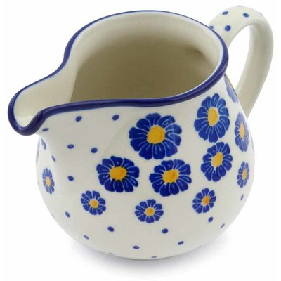 Polish Pottery Creamer 8 oz Blue Zinnia