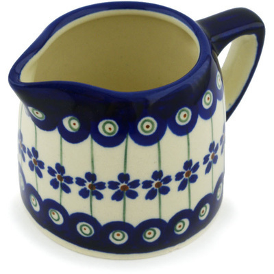 Polish Pottery Creamer 8 oz Flowering Peacock