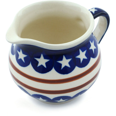 Polish Pottery Creamer 8 oz Stars And Stripes Forever