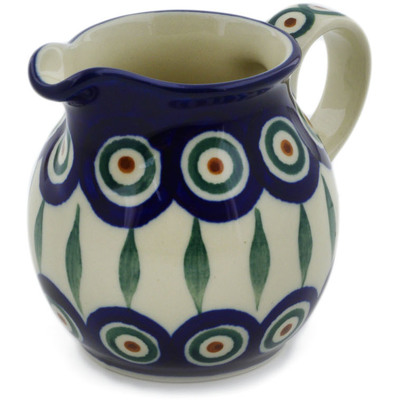 Polish Pottery Creamer Small Peacock Leaves