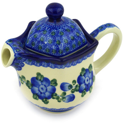 Polish Pottery Creamer with Lid 12 oz Blue Poppies