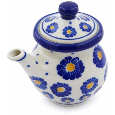 Polish Pottery Creamer with Lid 5 oz Blue Zinnia