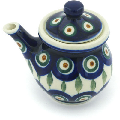 Polish Pottery Creamer with Lid 5 oz Peacock Leaves
