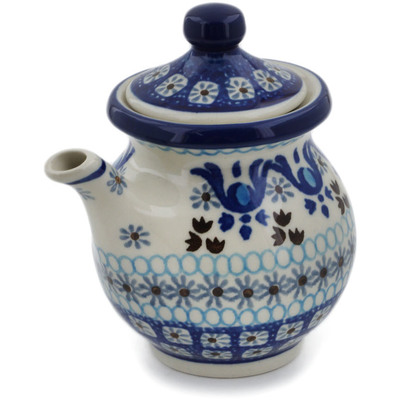 Polish Pottery Creamer with Lid 7 oz Blue Ice