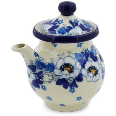 Polish Pottery Creamer with Lid 7 oz Blue Spring