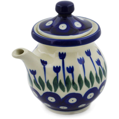 Polish Pottery Creamer with Lid 7 oz Blue Tulip Peacock