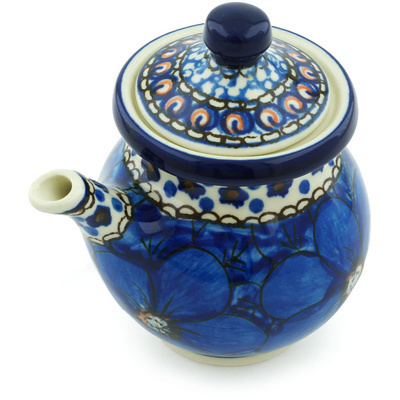 Polish Pottery Creamer with Lid 7 oz Cobalt Poppies UNIKAT