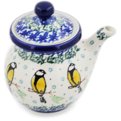 Polish Pottery Creamer with Lid 7 oz Goldfinch