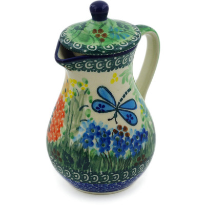 Polish Pottery Creamer with Lid 8 oz Garden Delight UNIKAT