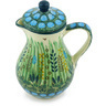 Polish Pottery Creamer with Lid 8 oz Prairie Land UNIKAT
