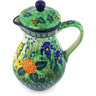 Polish Pottery Creamer with Lid 8 oz Spring Garden UNIKAT