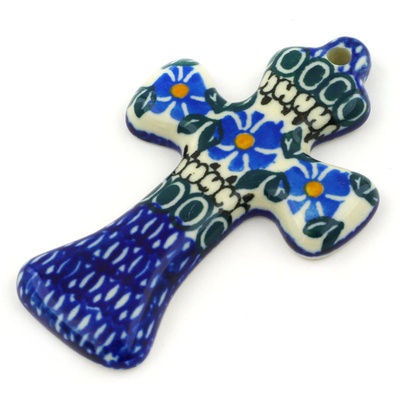"Polish Pottery Cross 3"" Traditional Blue Wildflower"