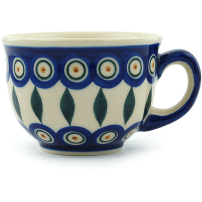 Polish Pottery Cup 10 oz Peacock