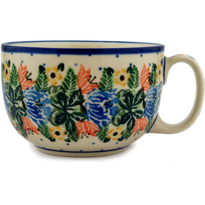 Polish Pottery Cup 13 oz Dotted Floral Wreath UNIKAT