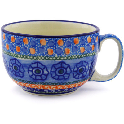 Polish Pottery Cup 13 oz Midnight Tango UNIKAT