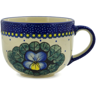 Polish Pottery Cup 17 oz Flower In The Grass UNIKAT