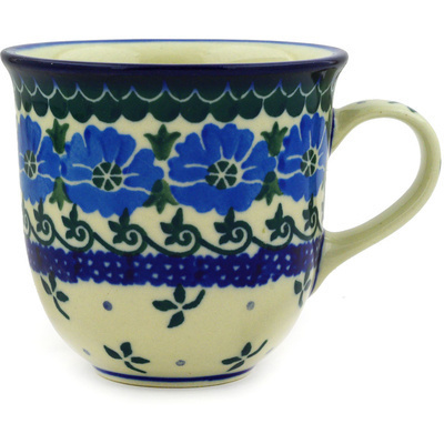 Polish Pottery Cup 6 oz Blue Poppy Chain