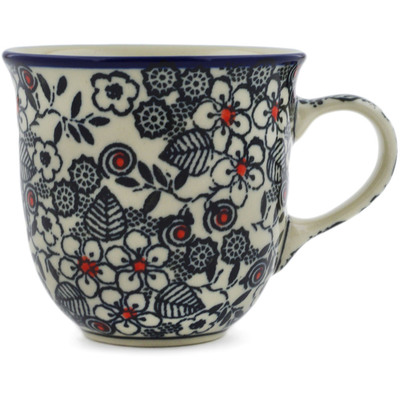 Polish Pottery Cup 6 oz Classic Black And White UNIKAT