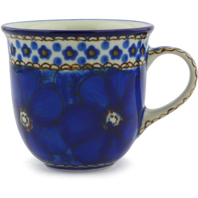 Polish Pottery Cup 6 oz Cobalt Poppies UNIKAT