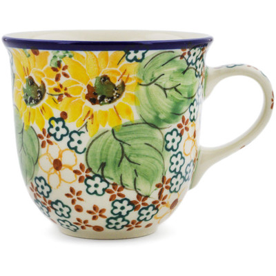 Polish Pottery Cup 6 oz Country Sunflower UNIKAT