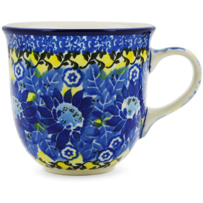 Polish Pottery Cup 6 oz Deep Blue UNIKAT