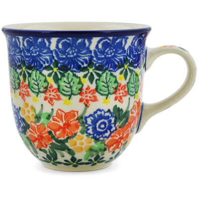 Polish Pottery Cup 6 oz Red Bouquet UNIKAT