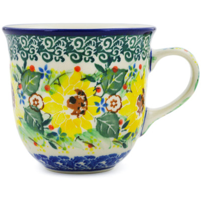 Polish Pottery Cup 6 oz Yellow Garden UNIKAT