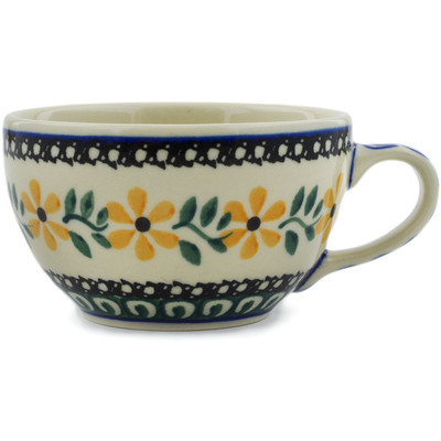 Polish Pottery Cup 7 oz Yellow Daisy Swirls