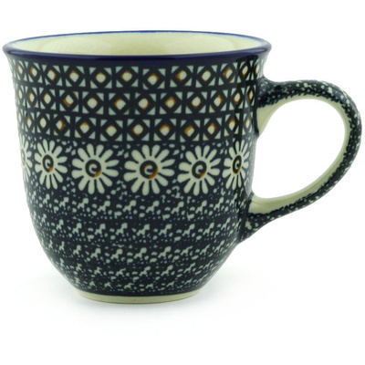 Polish Pottery Cup 8 oz Black Daisy