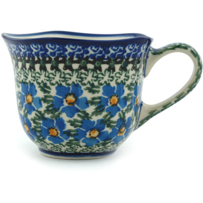 Polish Pottery Cup 8 oz Blue Daisy Dream UNIKAT