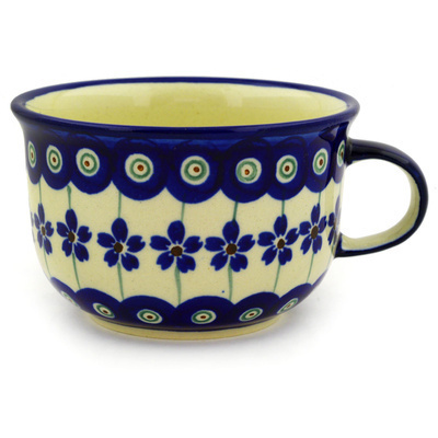 Polish Pottery Cup 8 oz Flowering Peacock