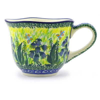 Polish Pottery Cup 8 oz Lakeside Bluebells UNIKAT