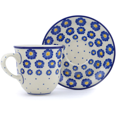 Polish Pottery Cup with Saucer 10 oz Blue Zinnia