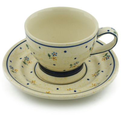 Polish Pottery Cup with Saucer 10 oz Country Meadow