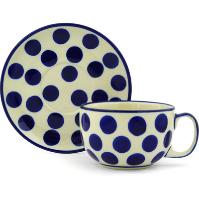 Polish Pottery Cup with Saucer 13 oz Bold Blue Dots