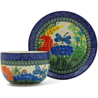 Polish Pottery Cup with Saucer 13 oz Garden Delight UNIKAT