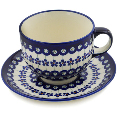 Polish Pottery Cup with Saucer 18 oz Flowering Peacock